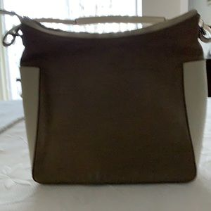 Beige Fabric and leather handbag